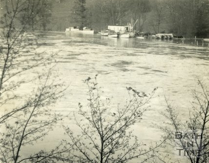 Newbridge boating station and River Avon, Bath during the floods 1954