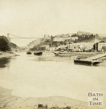 View of the newly completed Clifton Suspension Bridge and the Avon Gorge, Bristol c.1865