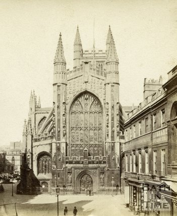 The West front of Bath Abbey from Abbey Church Yard, 1864