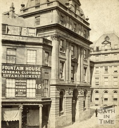 Fountain House, the entrance to the New Royal Baths and the Grand Pump Room Hotel, Stall Street, Bath c.1870