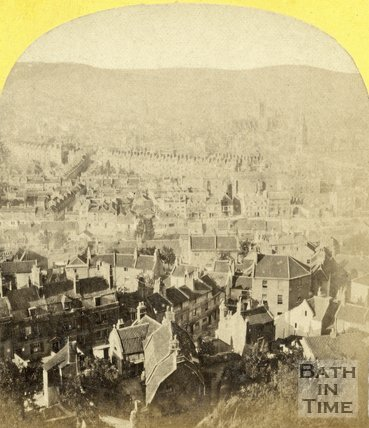 View down Holloway from Beechen Cliff, Bath, c.1860