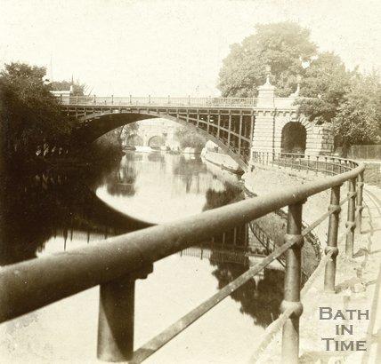 North Parade Bridge and the River Avon, Bath c.1880