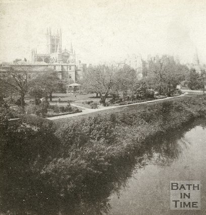 Institution Gardens and Bath Abbey form North Parade Bridge, Bath c.1880
