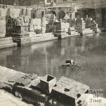 The recently uncovered Roman Great Bath, Bath c.1890