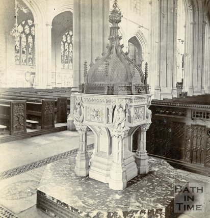 The font, Bath Abbey, Bath c.1880
