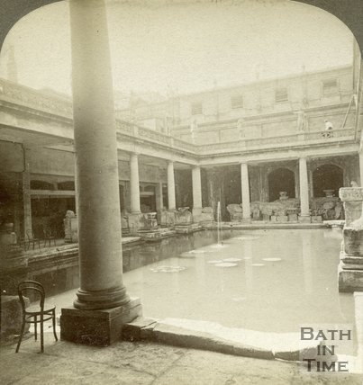 The newly completed upper part of the Roman Great Bath, Bath c.1890