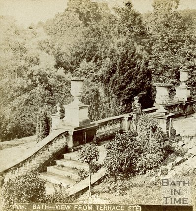 View from the bottom of the steps of Prior Park, Bath, c.1890s
