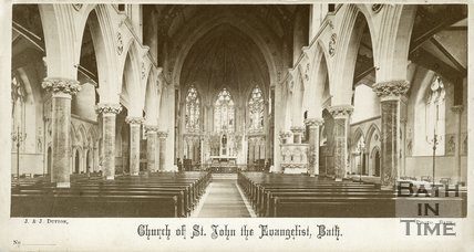Interior of St. John the Evangelist Church, Bath c.1865
