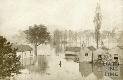 View from the Dolemeads across the cricket ground towards North Parade Bridge Road, Bath during the floods 1882