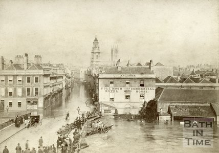 The flooded Southgate Street viewed from the Old Bridge, Bath, 25th October 1882