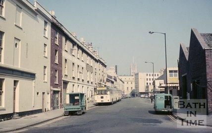 View up Newark Street from Dorchester Street, Bath, c.1968