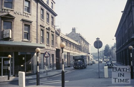Television Corner looking up Dorchester Street towards Bath Spa Station, Bath, c.1968