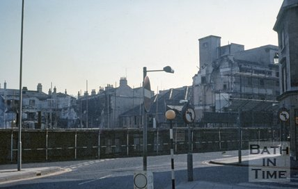 The first stages of the demolition of Southgate Street viewed from James Street West, c.1970