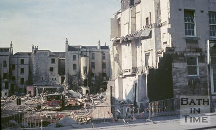 Demolition of homes in Railway Road or Kingston Road, Southgate, Bath, c.1970