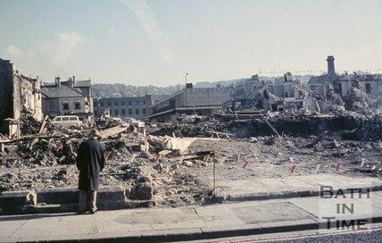 Demolition of homes in Newark Street, Southgate, Bath, c.1970