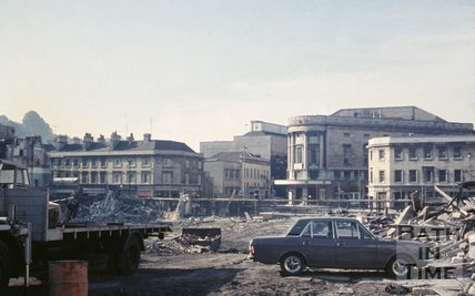 View across the cleared Southgate site towards the Forum, c.1970