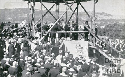 Laying foundation stone of the chancel, Church of the Ascension, South Twerton, Bath, 1911