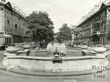 The fountain at Laura Place, Bath, looking northeast, 1959