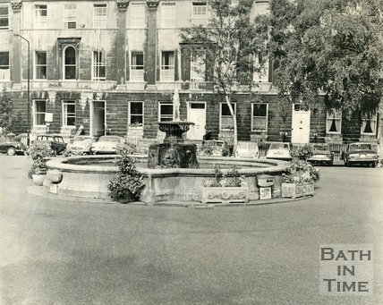 The fountain at Laura Place, Bath, 1960s