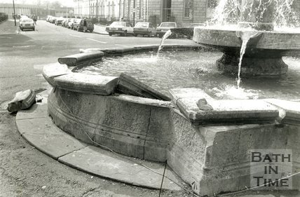 The fountain at Laura Place after vandalisation, Bath, 26 April 1989