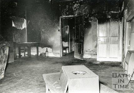 Fire damage inside a flat in Johnstone Street, Bath, 24 June 1991