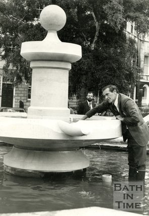 The fountain at Laura Place, Bath, 5 September 1977
