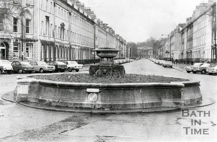 The fountain at Laura Place, Bath, March 21st 1977