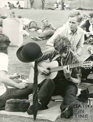 Festival goers at the Bath Blues Festival, Twerton Park, 26 May 1970