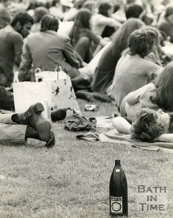 Festival goers at the Bath Blues Festival, Twerton Park, 1 June 1970