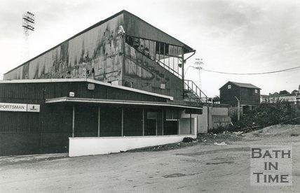 The aftermath of a fire at Twerton Park, Bath, 17 September 1990