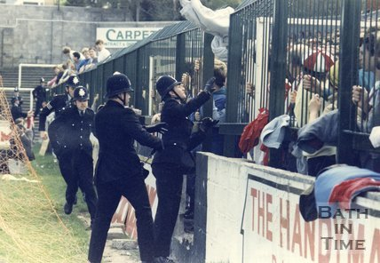 Crowd control at Twerton Park, Bath, 21 October 1987