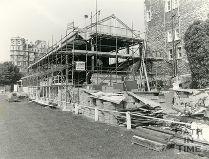 The renovation of the rugby stand at the Recreation Ground, Bath, 21 June 1982