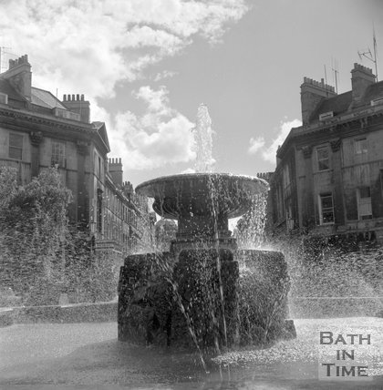 The fountain at Laura Place, Bath, 14 June 1960