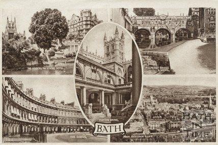 Multiview postcard of Bath, c.1930s