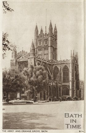 Postcard view of Bath Abbey from Orange Grove, c.1930s