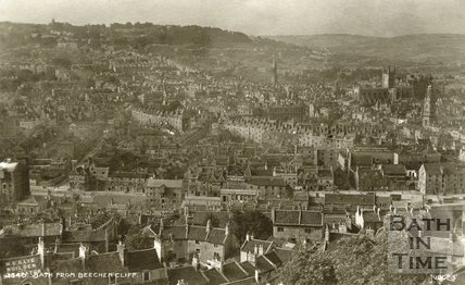 Postcard view of Bath from Beechen Cliff, c.1912