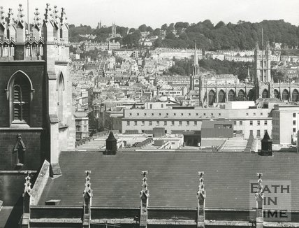 View over St Marks School towards Bath Abbey, 2 August 1974