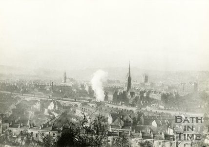 View of Bath over the Dolemeads towards the railway, c.1930s