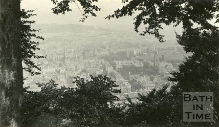 View through the trees of Bath from Beechen Cliff, c.1930s