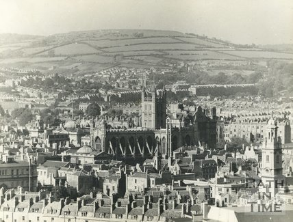 View of Bath Abbey from the roof of the Forum, c.1935