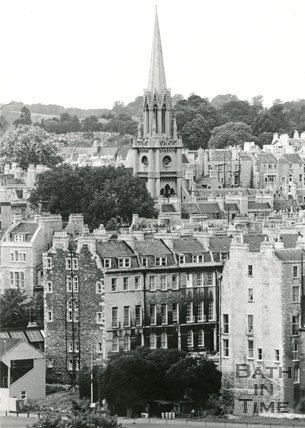 View across the Recreation Ground towards St Michaels church, Bath 1964