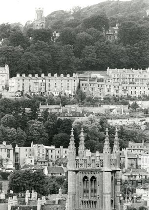 View from Bathwick Hill towards St Stephens church, Bath, 1964