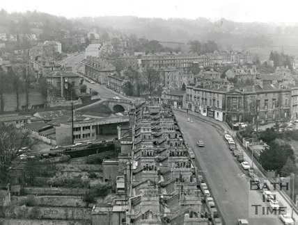 View from the top of St Mary's church, Bathwick looking up Bathwick Hill, Bath, c.1960s