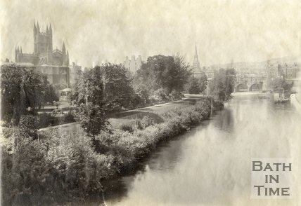 View of Institution Gardens, the river and Pulteney Bridge from North Parade Bridge, c.1885