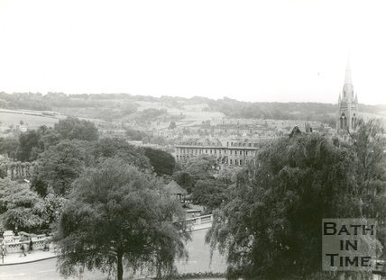 View towards the hills above Widcombe from the Guildhall, Bath, c.1950