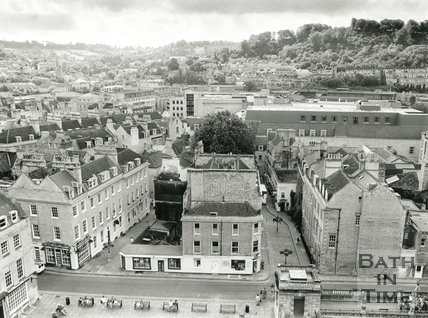 View from Bath Abbey tower looking down on York Street towards Abbey Green, Bath, July 1991