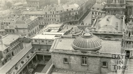 View from Bath Abbey tower looking down over the Roman Baths, Swallow Street and Bath Street, c.1915