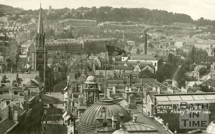 View of High Street towards St Michaels church from Bath Abbey Tower, c.1903
