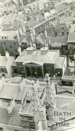 View from Bath Abbey tower looking down on Friends Meeting House on York Street, c.1915