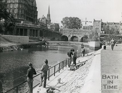 Fishing by the River Avon close to Pulteney Bridge, Bath, September 1972
